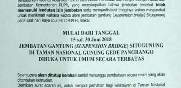 Jembatan Gantung Situ Gunung Resmi di Buka Untuk Umum